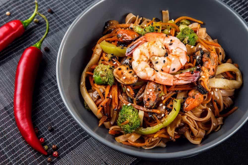Serbia - Novi Sad - Chinese food on a black background