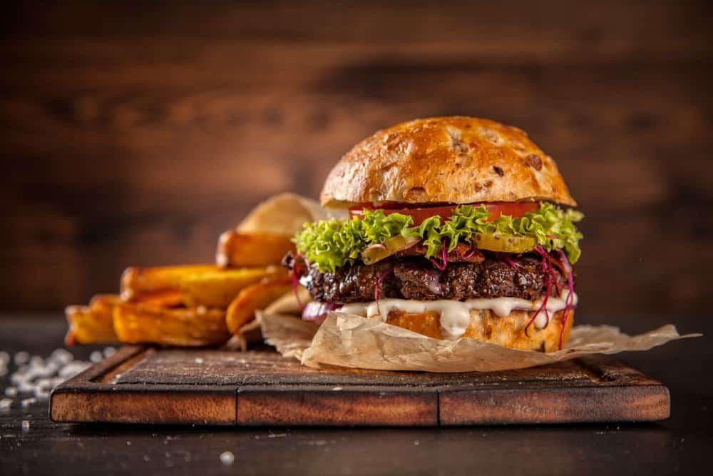 Serbia - Novi Sad - Home made hamburger with lettuce and cheese