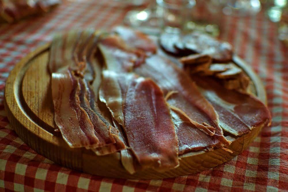 Serbia - Novi Sad -Serbian meze with prosciutto or pršut (pršuta), pancetta, kulen and sausage