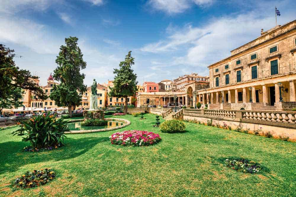 Greece - Corfu -Sunny spring view of Museum of Asian Art. Colorful morning cityscape of Corfu Town, capital of the Greek island of Corfu, Greece, Europe. Traveling concept background.