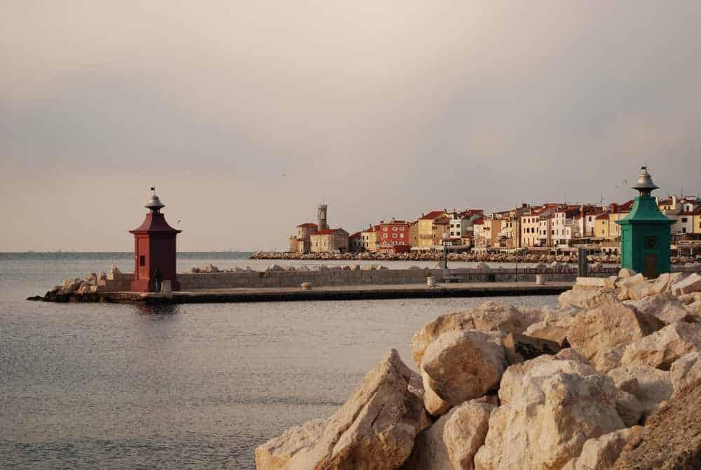 Slovenia - Portoroz - the beautiful town of Piran in Portorož in Slovenia a day in late summer