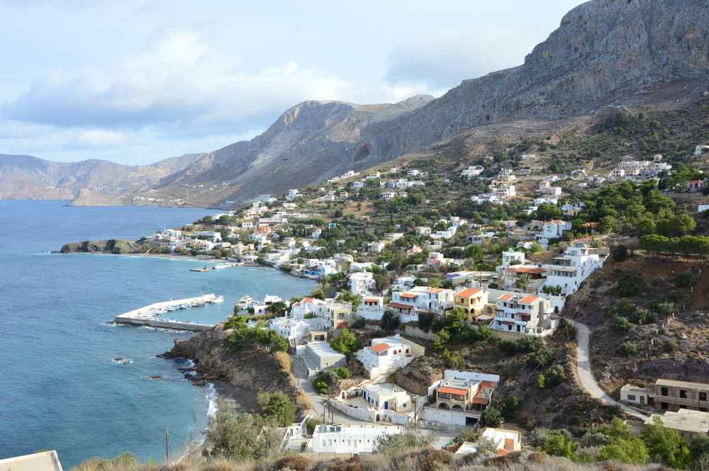 Greece - Kalymnos -Melitsahas area as seen from a small hill.Located 7 km north west of Pothia, the capital of Kalymnos close to the famous village of Myrties.The photo was taken during winter period.