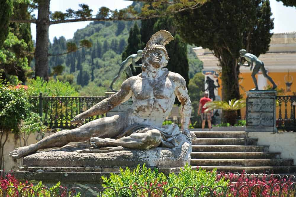 Greece - Corfu - Ernst Herter's sculpture Dying Achilles, Achilleion Palace, Corfu Island, Greece, Europe The sculpture is created in Berlin in 1884 as inscribed in the statue. Achilleion is a palace built in Gastouri