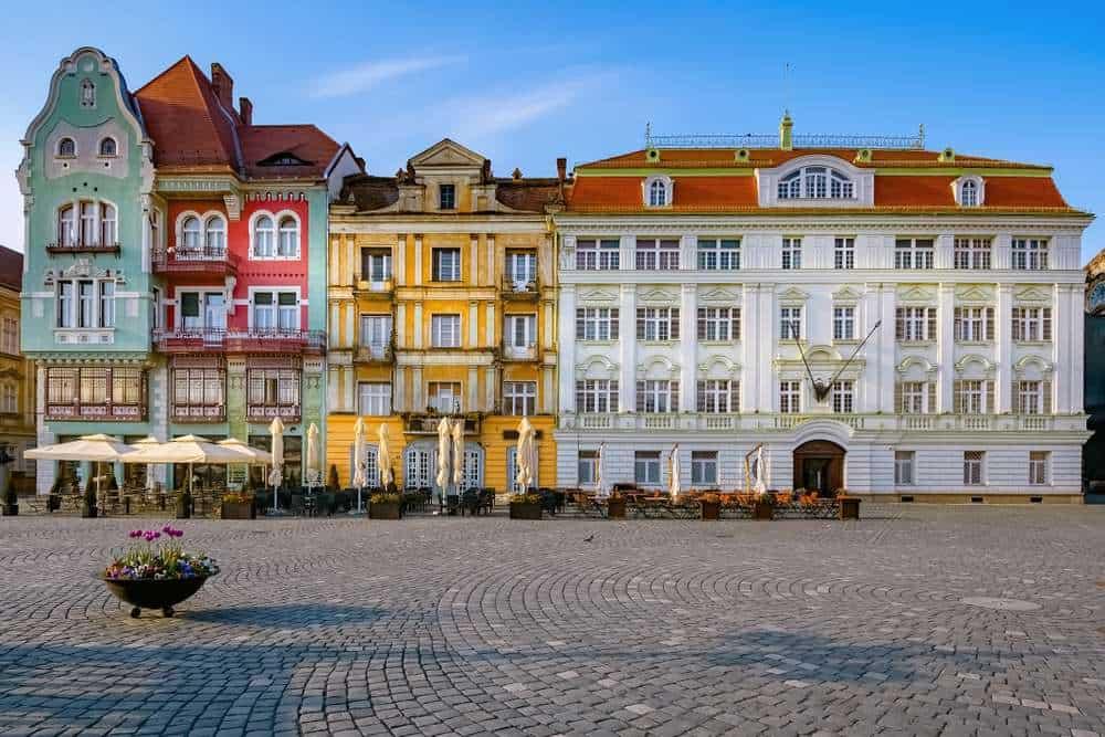 Romania - Timisoara - Union square or Unirii Square is the main square of the city of Timisoara, Romania