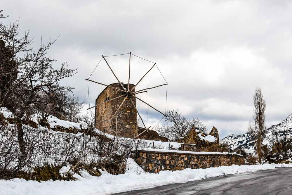 greece - crete - Windmill on the mountains of Lasithi plateau in Crete