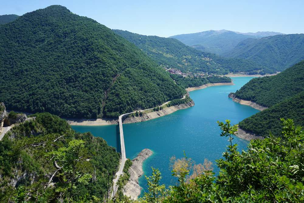 Montenegro - View of Tara river Canyon with bridge over the river
