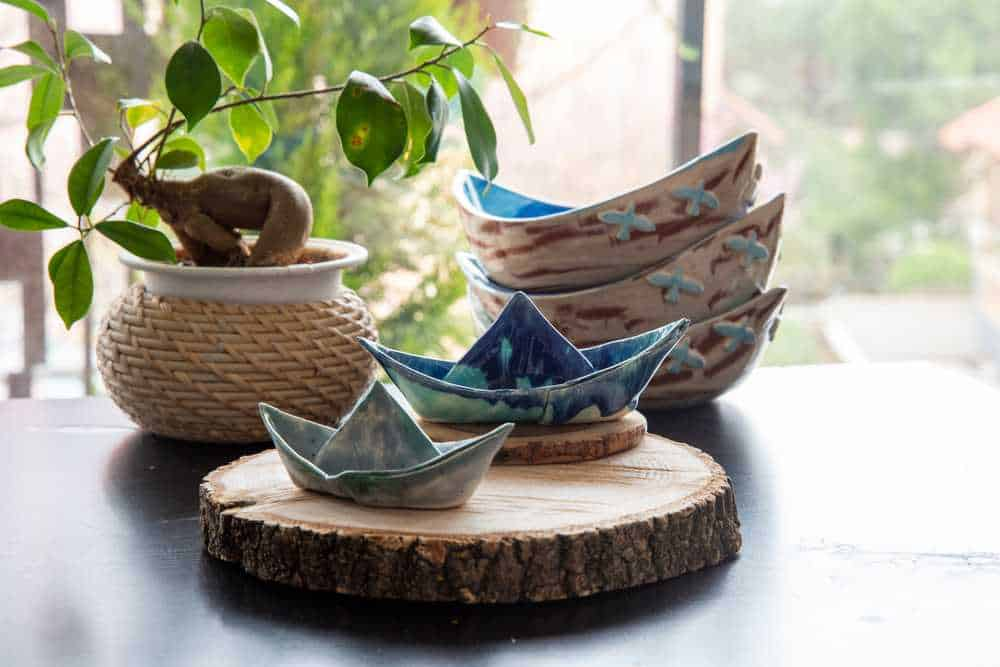 Greece - Santorini - wooden garden decoration with handmade ceramics