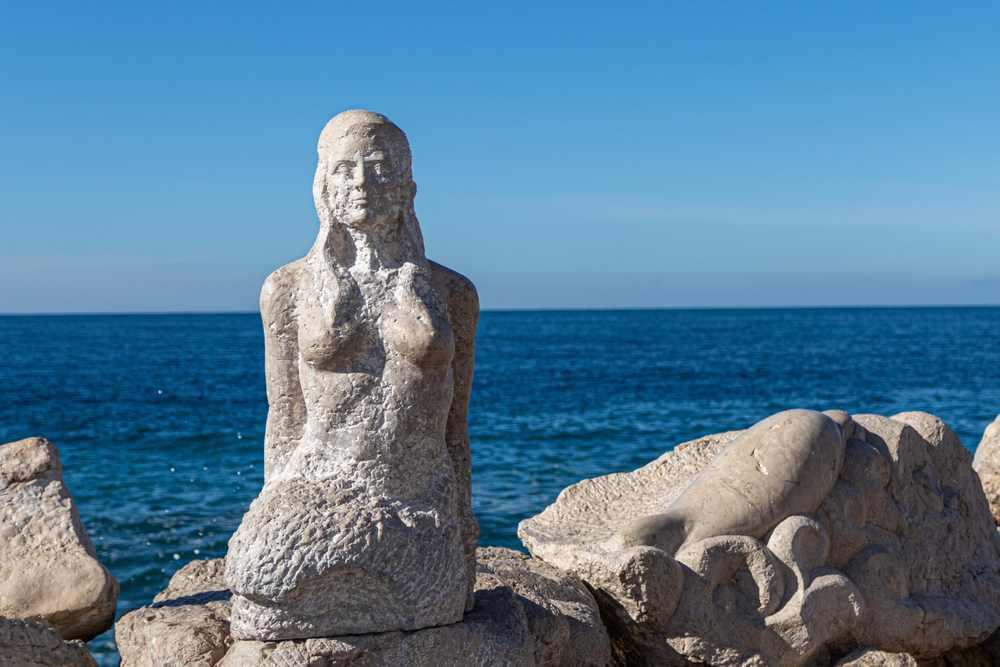 Slovenia - Portoroz - sculpture on the beach of Slovenia