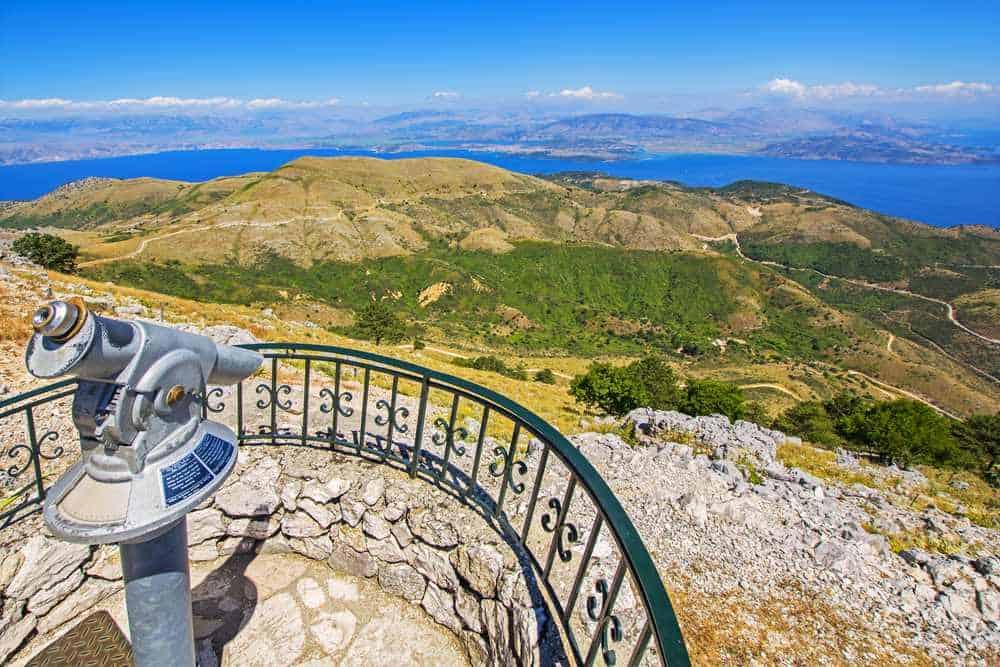 Greece - Corfu - View of Corfu island from the top of Mount Pantokrator, Greece