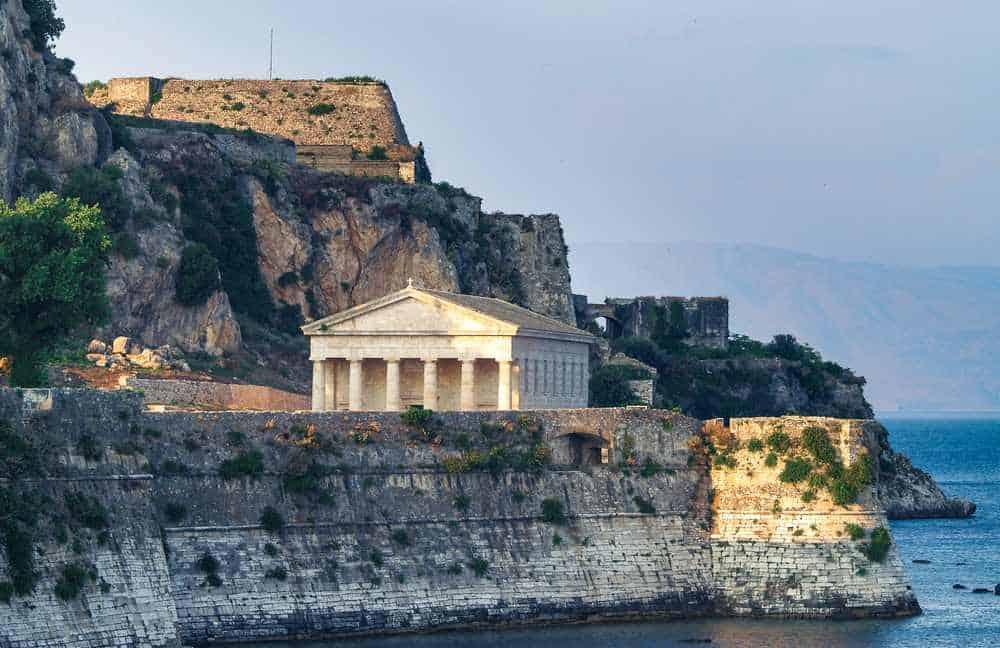 Greece - Corfu - Old Fortress in Corfu Island with church of Agios Georgios, Greece