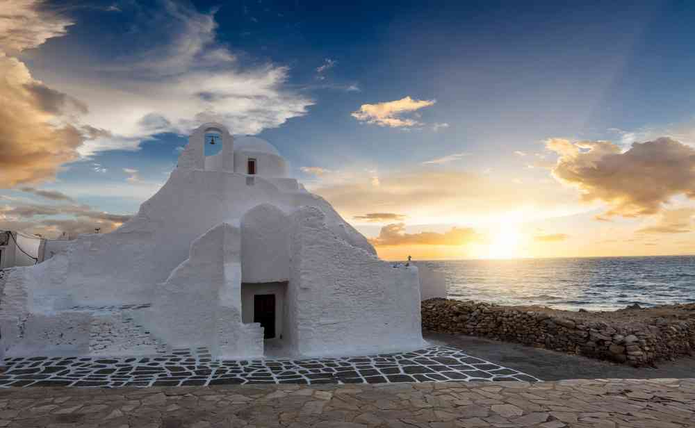 Paraportiani Church in Mykonos Town, Cyclades, Greece, during sunset
