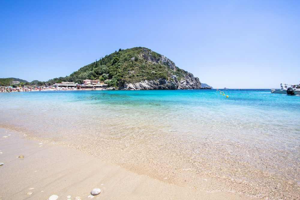 Greece - Corfu - Agios Spyridon Bay on famous Paleokastritsa resort, Corfu, Greece