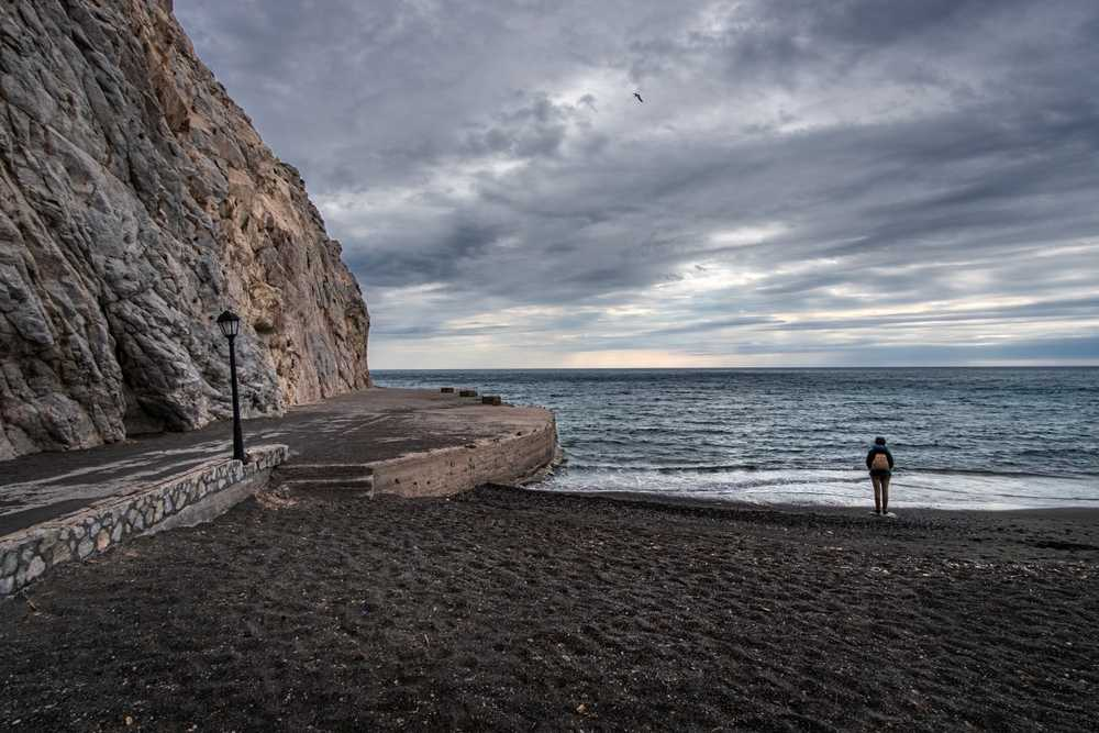 Greece - Santorini - Beach of the island of Santorini in winter. Greece.