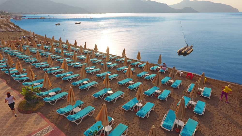 Marmaris - Marmaris turquoise beach, city center of town from the air