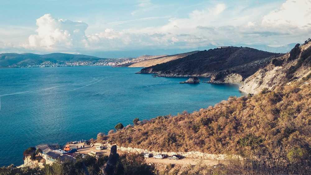 Albania - Ksamil - Rocky shore next to Ksamil, Saranda, Albanian Riviera, beautiful seascape, sunset