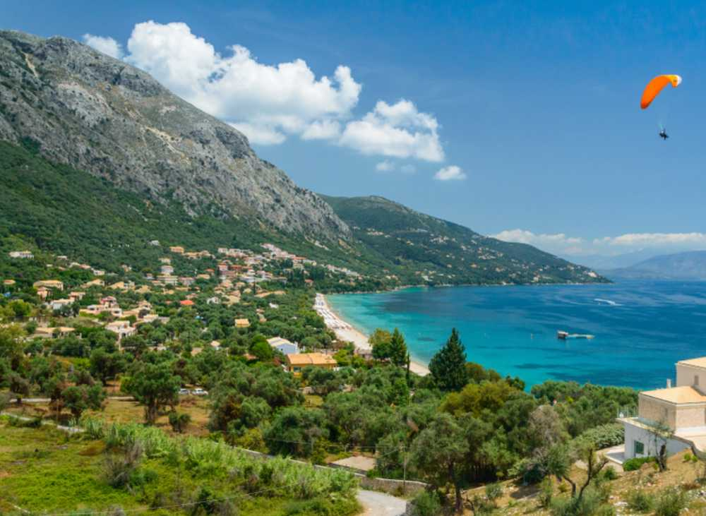 Greece - Corfu - Corfu, panorama on a picturesque mountain landscape with blue bays.