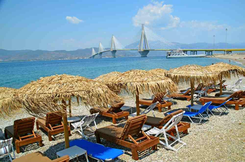 Greece - Patra - Rio Antirio Beach Patra and big cable bridge