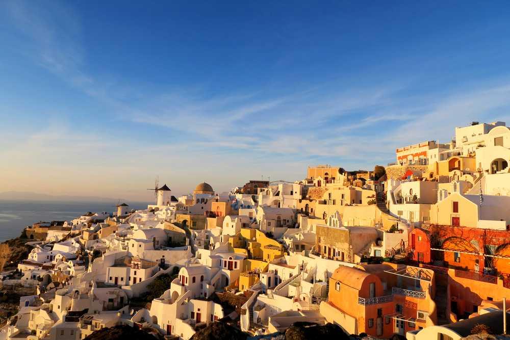 Greece - Santorini - Golden Light over Santorini, Greece
