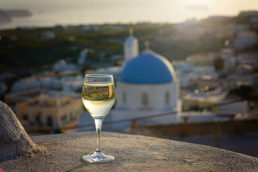 Greece - Santorini - Glass of wine in Santorini