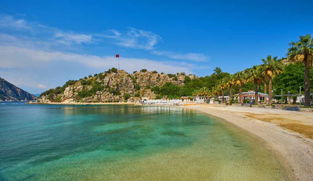 Kumlubuk sandy bay beach near Turunc in Marmaris, Turkey