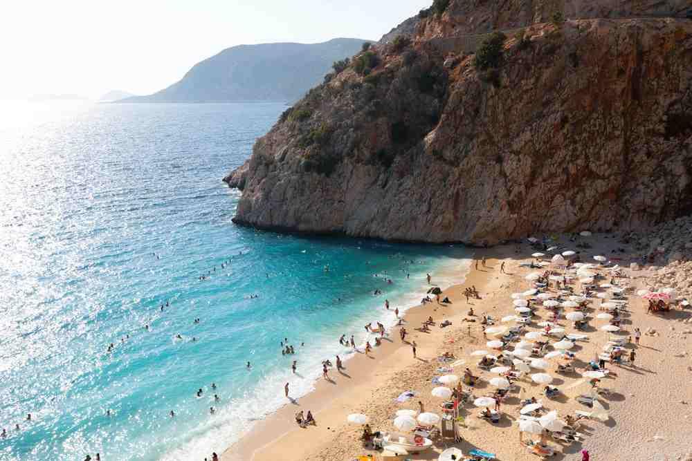 turkey  - kas - Famous Kaputaş beach from top. Antalya Turkey.