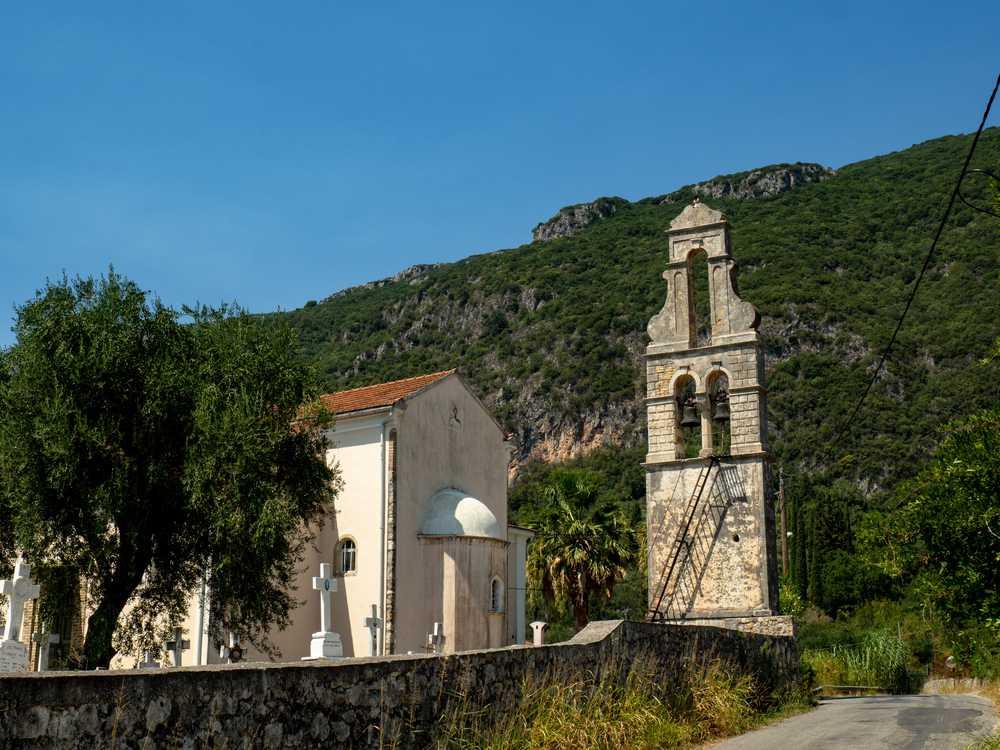 Greece - Corfu - View of Dorfkirche Ano Korakiana i small village church on the island of Corfu