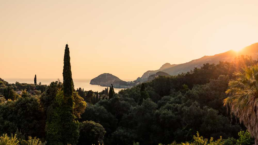 Greece - Corfu - Beautiful red sunset over Liapades Beach, Corfu, Greece