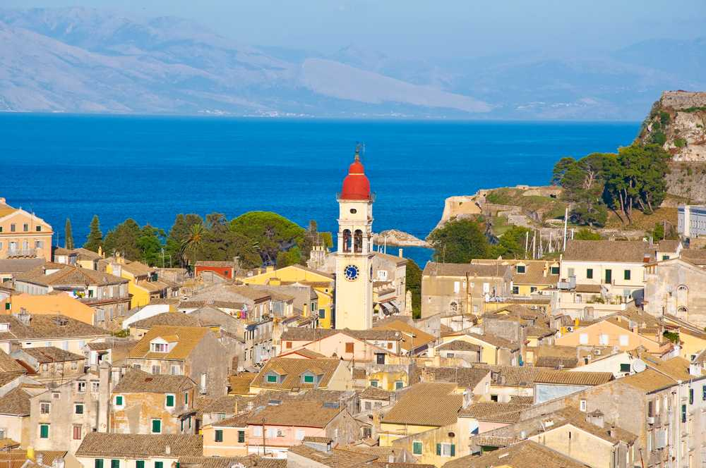 Greece - Corfu - Corfu city and the bell tower of the Saint Spyridon Church from the New Fortress