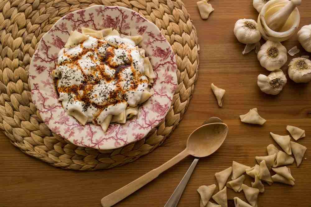 Turkey - Kas - Manti / Turkish Ravioli with yogurt.