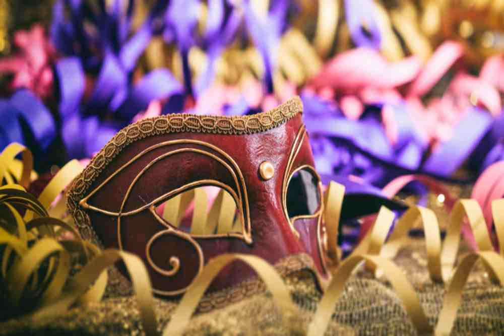greece - patras - Carnival mask on colorful blur party background