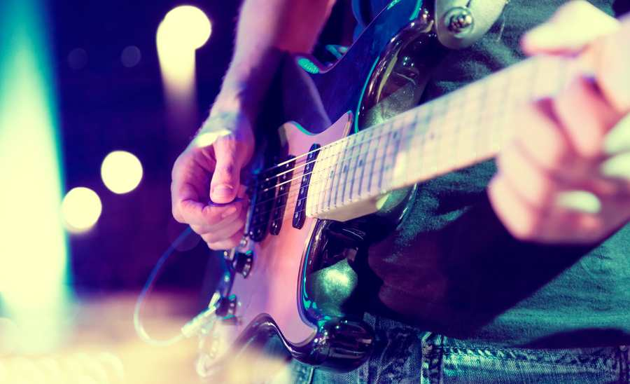 Serbia - Exit - Stage lights.Abstract musical background.Playing guitar and concert concept.Live music background.Music festival.Instrument on stage and band