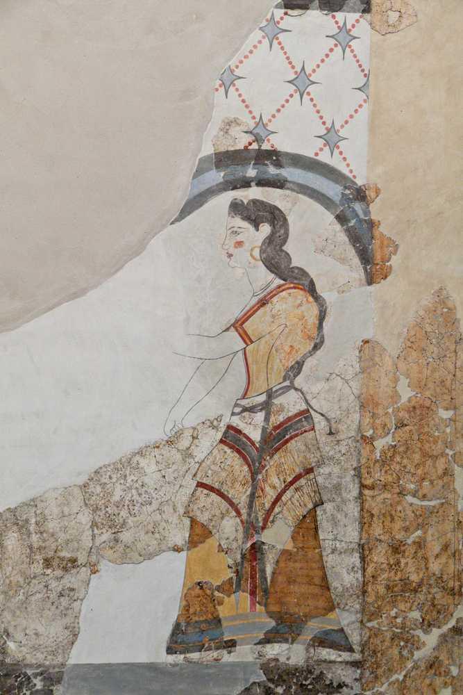 Greece - Santorini - Ancient Akrotiri settlement at Santorini island in Greece. Detail of a house wall fresco.